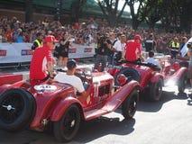 Milaan, Italië - Augustus 29, 2018: Vettel en Raikkonen-Formule 1 dag in de stadscentrum van Milaan royalty-vrije stock foto