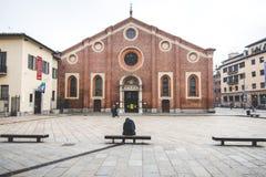 MILAAN, ITALIË - DECEMBER 10.2015: Kerk Heilige Mary van Gunst (Santa Maria delle Grazie), Milaan Royalty-vrije Stock Afbeelding