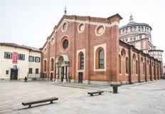 MILAAN, ITALIË - DECEMBER 10.2015: Kerk Heilige Mary van Gunst (Santa Maria delle Grazie), Milaan Stock Afbeelding