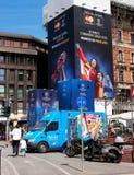 Milaan, Italië - Mei 25, 2016: UEFA verdedigt spel van Liga 2016 het Echte Madrid-Atletico Madrid in def. De straten zijn verfraa Royalty-vrije Stock Afbeelding