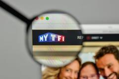 Milaan, Italië - November 1, 2017: Televisie Francaise 1 embleem  royalty-vrije stock afbeelding
