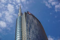 MILAAN, ITALIË - OKTOBER 05, 2016: De torens van de het glaswolkenkrabber van de Unicreditbank op 05 Oktober 2016 in Milaan, Ital Royalty-vrije Stock Fotografie