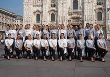 Milaan, Italië: 10 september 2018: Misser de modellen die van Italië in Duomo-vierkant stellen royalty-vrije stock foto