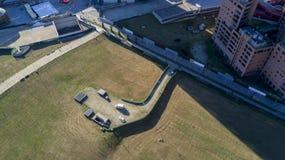 Milaan, Italië, groen gebied dichtbij Piazza de mening van Gael Aulenti van hierboven, luchtmening Stock Fotografie