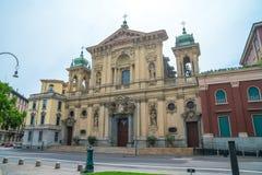 Milaan, Itali? - 14 08 2018: kathedraal in Milaan, katholieke godsdienst stock afbeelding