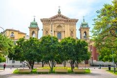 Milaan, Itali? - 14 08 2018: kathedraal in Milaan, katholieke godsdienst stock afbeeldingen