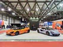 Milaan, Lombardije Italië - 23 November, 2018 - McLaren-tribune in de uitgave van Autoclassica Milaan 2018 stock foto's