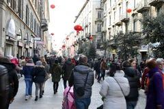 Milaan, Milaan, Chinese nieuwe year'eve Stock Afbeeldingen