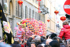 Milaan, Milaan, Chinese nieuwe year'eve Stock Fotografie