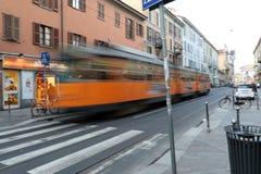 Milaan, Milaan, het tramspoor op Corso San Gottardo Stock Afbeeldingen