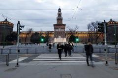 Milaan, Milaan, kasteel vierkante mening Royalty-vrije Stock Afbeelding