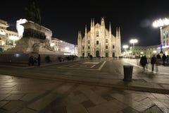 Milaan, Milaan, vooraanzicht van de kathedraal van Milaan (duomodi Milaan) bij nacht Royalty-vrije Stock Foto