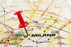 Milaan op de kaart Stock Foto