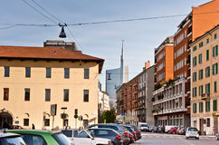 Milaan: oude en nieuwe gebouwen Stock Foto's