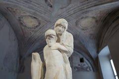 Milaan - September 28: Het onvolledige standbeeld van Michelangelo in Pieta Rondandini op 28 September, 2017 in Milaan stock afbeeldingen