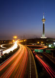 Milad Tower and Light Trails Stock Images
