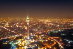 Milad Tower at night in Tehran, Iran, taken in January 2019 taken in hdr stock photography
