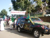 Milad un Nabbi celebration with decorated car. Muslims perform a procession to mark Milad un Nabbi celebrations in Africa Nairobi Kenya to mark the birth day Stock Photos