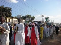 Milad un Nabbi celebration participants perform a song. Muslims perform a procession to mark Milad un Nabbi celebrations in Africa Nairobi Kenya to mark the Royalty Free Stock Photo