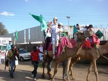 Milad un Nabbi celebration participants riding on horses. Muslims perform a procession to mark Milad un Nabbi celebrations in Africa Nairobi Kenya to mark the Stock Photos