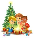 Milagro de la Navidad - niños que abren un regalo mágico al lado de un árbol de navidad libre illustration