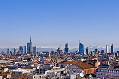 Milan 2012: new skyline. New panoramic skyline in Milan 2012. The picture was taken from the Duomo cathedral rooftop facing north and shows the new buildings Stock Photo