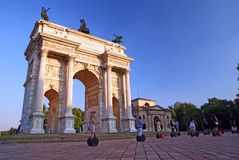 Milan. Arc of Peace with people segway driving, Milan Italy Royalty Free Stock Images