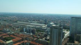 Milan aerial view of Central Station and Pirellone skyscraper.  stock video