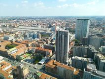 Milan aerial view. Milano city, Italy. Modern buildings view Royalty Free Stock Photography