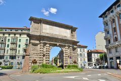 Milan ancient city gate called Porta Romana in a bright sunny summer day. royalty free stock photography