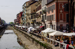 Milan: antiques fair on the banks of the Naviglio  Royalty Free Stock Photos