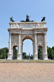Milan - Arch of Peace. Milan, Piazza Sempione - Arch of peace Restored Stock Photo
