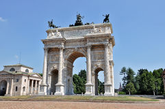 Milan - Arch of Peace. Milan, Piazza Sempione - Arch of peace Restored Stock Image
