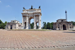 Milan - Arch of Peace. Milan, Piazza Sempione - Arch of peace Restored Royalty Free Stock Image