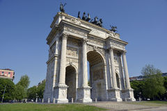 Milan - Arch of Peace. Milan, Piazza Sempione - Arch of peace Restored Stock Photos