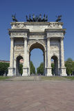 Milan - Arch of Peace. Milan, Piazza Sempione - Arch of peace Restored Royalty Free Stock Images