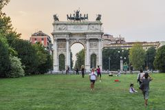 Milan - Arco della Pace. View of the Arco della Pace, triumphal arch in Milan, Italy . Evening time Stock Images