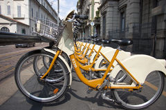 Milan bikes for hire Stock Photography