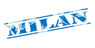 Milan blue stamp. Isolated on white background Stock Photos