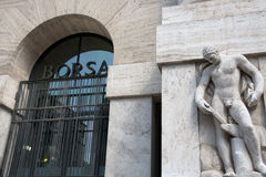 Milan - Borsa, sign on entrance of the stock excha Stock Images