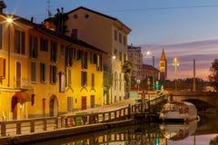 Milan. Canal Naviglio Grande at dawn. Stock Photos