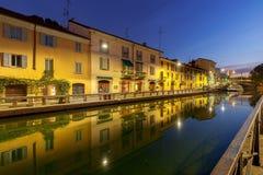 Milan. Canal Naviglio Grande at dawn. Stock Photography