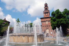 Milan - Castello Sforzesco, Sforza Castle. Castello Sforzesco (Sforza Castle) is a castle in Milan, Italy that now houses several of the city's museum and art stock photo