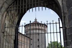 The milan castle tower view Royalty Free Stock Image