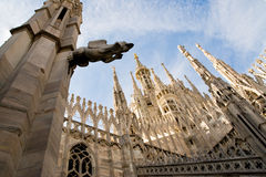 Milan cathedral. Low angle view of the gothic cathedral of milan italy royalty free stock image