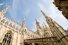 Milan cathedral. Low angle view of the gothic cathedral of milan italy royalty free stock images