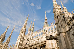 Milan cathedral. Low angle view of the gothic cathedral in milan italy royalty free stock images