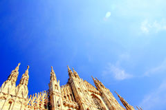 Milan cathedral on blue sky Royalty Free Stock Images