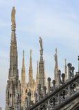 Milan Cathedral-dakstandbeelden Stock Afbeelding