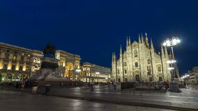 Milan Cathedral day to night timelapse Duomo di Milano is the gothic cathedral church of Milan, Italy. Milan Cathedral day to night transition timelapse Duomo stock video footage